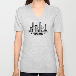 Louisville Clifton Kentucky Skyline Unisex V-Neck