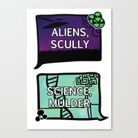 scully Canvas Prints featuring Aliens, Scully by raynall