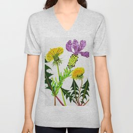 Dandelions and Lavender Unisex V-Neck