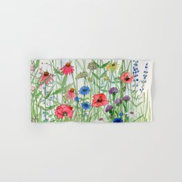 Watercolor of Garden Flower Medley Hand & Bath Towel