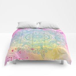 pink splash mandala Comforters