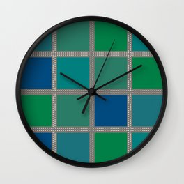 Quilt Square Stitch Style - Blues Greens Wall Clock