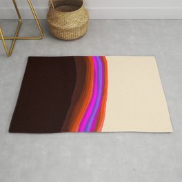 Orange, Purple, and Cream Abstract Rug