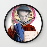tom waits Wall Clocks featuring Tom Waits by Hilal Can