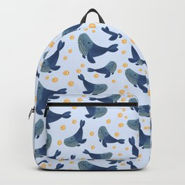 Swimming Blue Whales Backpack