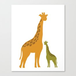 Mommy and child giraffe Canvas Print