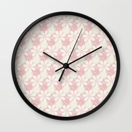 Summer Lace: a delicate lacy pattern in palest pinks with a touch of the lightest green Wall Clock