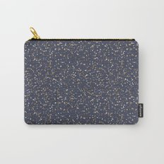 Speckles I: Dark Gold & Snow on Blue Vortex Carry-All Pouch