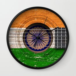 Old Vintage Acoustic Guitar with Indian Flag Wall Clock
