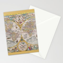 Antique Map of the World from 1594 Stationery Cards