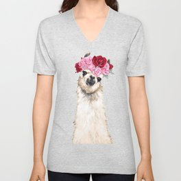 Llama with Pink Roses Flower Crown Unisex V-Neck