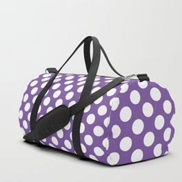 White Polka Dots with Purple Background Duffle Bag