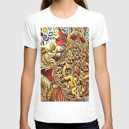 the dragon, in luck love golden T-shirt
