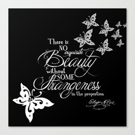 Strange Skullerflies - EA Poe Quote Canvas Print