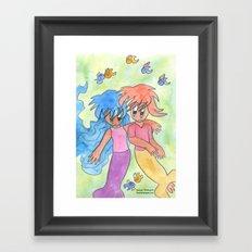 Mermaid Couple Framed Art Print