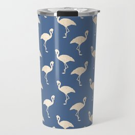 Gold Flamingo on Aegean Blue Travel Mug