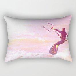 Kitesurfer at sunlight. Back view. Unrecognizable Rectangular Pillow