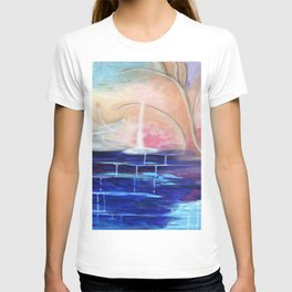 Flourescent Waterfall Painting. Waterfall, Abstract, Blue, Pink. Water. Jodilynpaintings. T-shirt
