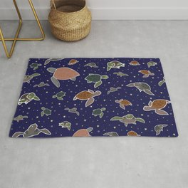Sea Turtles at Night Rug