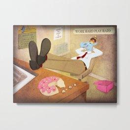 Donut Holder Metal Print