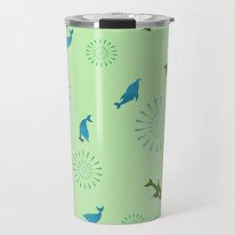 Green Orca and Dolphin Travel Mug