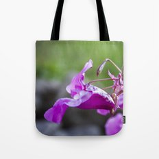 Indian Balsam Bokeh on the banks of the River Tay in Scotland Tote Bag