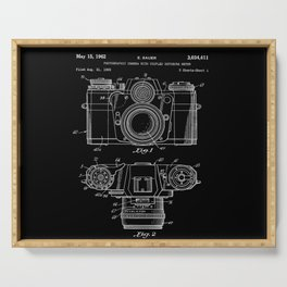 Vintage Camera Patent Black Blueprint Serving Tray