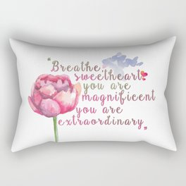 """""""Breathe Sweetheart"""" Shatter me by Tahereh Mafi quote Rectangular Pillow"""