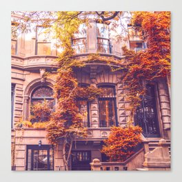 Dressed Up in Autumn - New York City Brownstones Canvas Print
