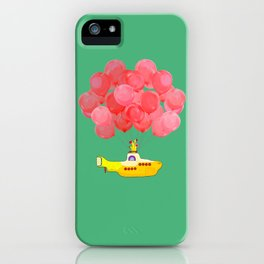 Flying Submarine with Red Balloons in Green iPhone Case