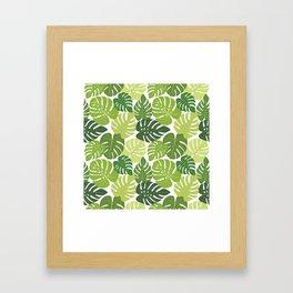 Monstera Leaves Pattern (white background) Framed Art Print