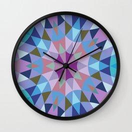 Retro Geometry Mandala Lavender Blue Wall Clock