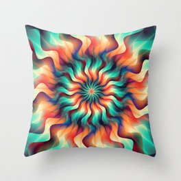 Bright and vibrant flower mandala Throw Pillow