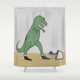 The T-Rex Bowls Shower Curtain