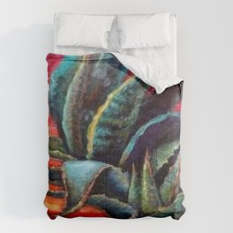 "WESTERN BLUE AGAVE ABSTRACT ""SHIP OF THE DESERT"" Comforters"