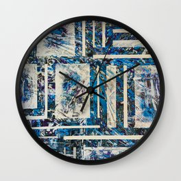 Snaw Unbrak Blue Ice Geometric Wall Clock