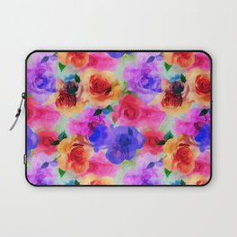 Colorful abstract modern roses flowers pattern Laptop Sleeve