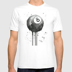 8-Ball Watercolor Black Pool Billiards Eight Ball Art MEDIUM Mens Fitted Tee White