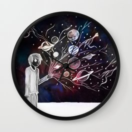 Worlds Spring from his hands Wall Clock