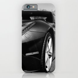 Super Car // Front Wheel Base Low Rims Dark Charcol Gray Black and White iPhone Case