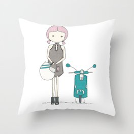 a girl and her vespa Throw Pillow