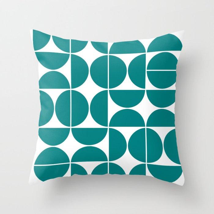 Mid Century Modern Geometric 04 Teal Throw Pillow