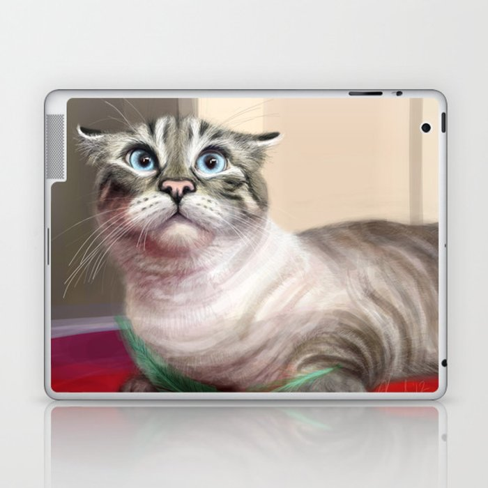 Cat Surprised Funny Animals with Feather Siamese Lynx-Point Laptop & iPad Skin