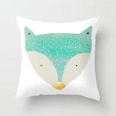 emerald fox with gold nose Throw Pillow