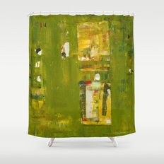 Iodine Green Abstract Art Modern Print Shower Curtain