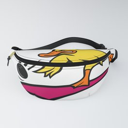 Duck Bowler Bowling Ball Mascot Cartoon Fanny Pack