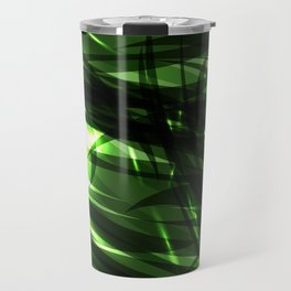 Green and smooth sparkling lines of grass on the theme of space and abstraction. Travel Mug
