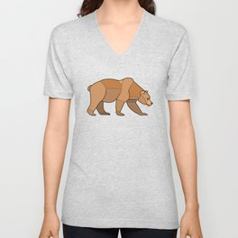 Shapely Brown Bear Unisex V-Neck
