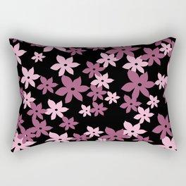 Blossoms Flowers vintage pink - black Rectangular Pillow