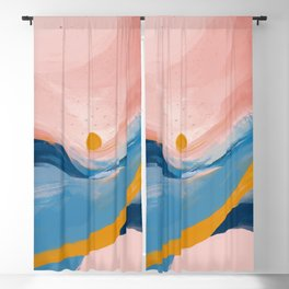Pink and Blue Abstract Art Ocean and Sunrise Blackout Curtain